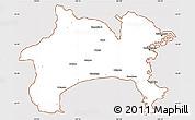 Classic Style Simple Map of Kanagawa, cropped outside