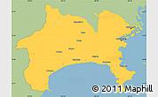 Savanna Style Simple Map of Kanagawa, single color outside