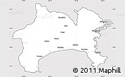 Silver Style Simple Map of Kanagawa, cropped outside