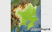 Physical Map of Kanto, darken