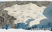 Shaded Relief Panoramic Map of Kanto, darken