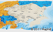 Shaded Relief Panoramic Map of Kanto, political outside