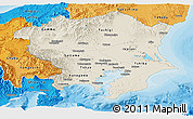 Shaded Relief Panoramic Map of Kanto, political shades outside