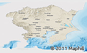 Shaded Relief Panoramic Map of Kanto, single color outside