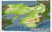 Physical Panoramic Map of Kinki, darken