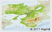 Physical Panoramic Map of Kinki, lighten