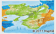 Physical Panoramic Map of Kinki, political outside