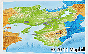 Physical Panoramic Map of Kinki, political shades outside