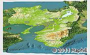 Physical Panoramic Map of Kinki, satellite outside