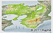 Physical Panoramic Map of Kinki, semi-desaturated