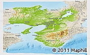 Physical Panoramic Map of Kinki, shaded relief outside