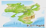 Physical Panoramic Map of Kinki, single color outside