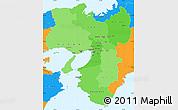 Political Shades Simple Map of Kinki, political outside