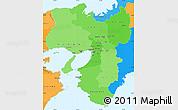 Political Shades Simple Map of Kinki