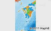 Political 3D Map of Kyushu