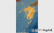 Political Shades 3D Map of Kyushu, darken