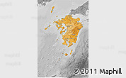 Political Shades 3D Map of Kyushu, desaturated