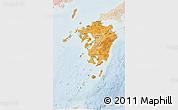 Political Shades 3D Map of Kyushu, lighten
