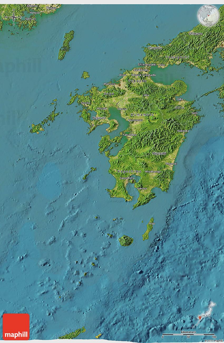 Satellite D Map Of Kyushu - Japan map kyushu