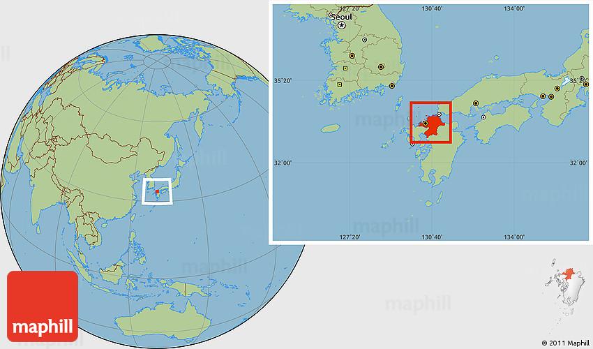 Savanna Style Location Map of Fukuoka