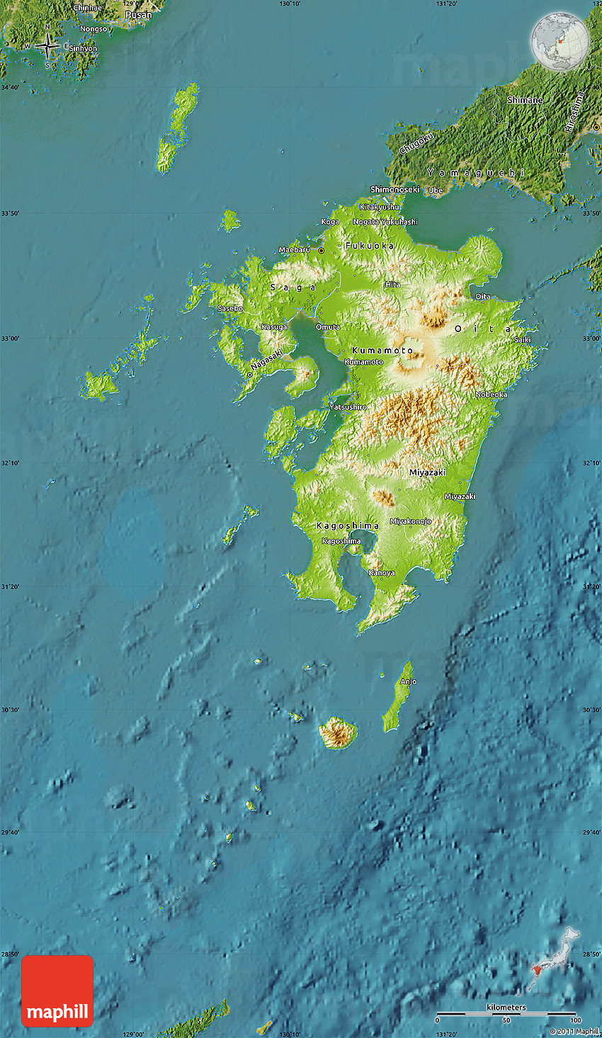 Physical Map of Kyushu, satellite outside on hainan map, okinawa island, fukuoka map, kuril islands, hiroshima map, sakhalin island map, ryukyu islands map, miyazaki map, kagoshima prefecture, kanto map, japanese archipelago, japanese archipelago map, ryukyu islands, fukuoka prefecture, japan map, okinawa map, manchurian plain map, nagasaki prefecture, gobi desert map, shikoku map, sea of japan, japanese alps map, hokkaido map, honshu map, sumatra map, bangkok map, loess plateau map, kuril islands map, okinawa prefecture,