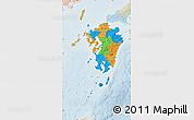 Political Map of Kyushu, lighten
