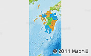 Political Map of Kyushu, physical outside