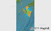 Political Map of Kyushu, satellite outside