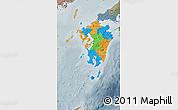 Political Map of Kyushu, semi-desaturated