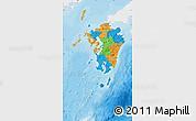 Political Map of Kyushu, single color outside