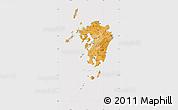Political Shades Map of Kyushu, cropped outside