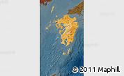 Political Shades Map of Kyushu, darken