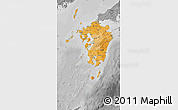 Political Shades Map of Kyushu, desaturated