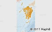 Political Shades Map of Kyushu, lighten