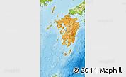 Political Shades Map of Kyushu, physical outside