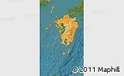 Political Shades Map of Kyushu, satellite outside