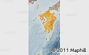 Political Shades Map of Kyushu, semi-desaturated