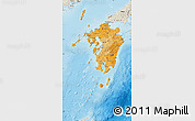 Political Shades Map of Kyushu, shaded relief outside