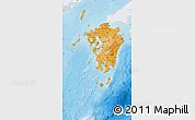 Political Shades Map of Kyushu, single color outside