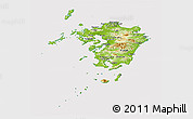 Physical Panoramic Map of Kyushu, cropped outside