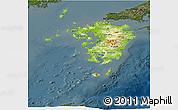 Physical Panoramic Map of Kyushu, darken