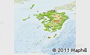 Physical Panoramic Map of Kyushu, lighten