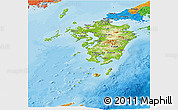 Physical Panoramic Map of Kyushu, political outside