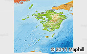 Physical Panoramic Map of Kyushu, political shades outside