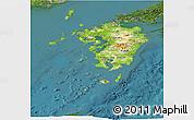 Physical Panoramic Map of Kyushu, satellite outside