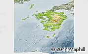 Physical Panoramic Map of Kyushu, semi-desaturated