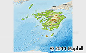 Physical Panoramic Map of Kyushu, shaded relief outside
