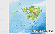 Physical Panoramic Map of Kyushu, single color outside