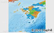 Political Panoramic Map of Kyushu