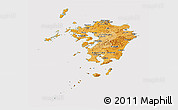 Political Shades Panoramic Map of Kyushu, cropped outside
